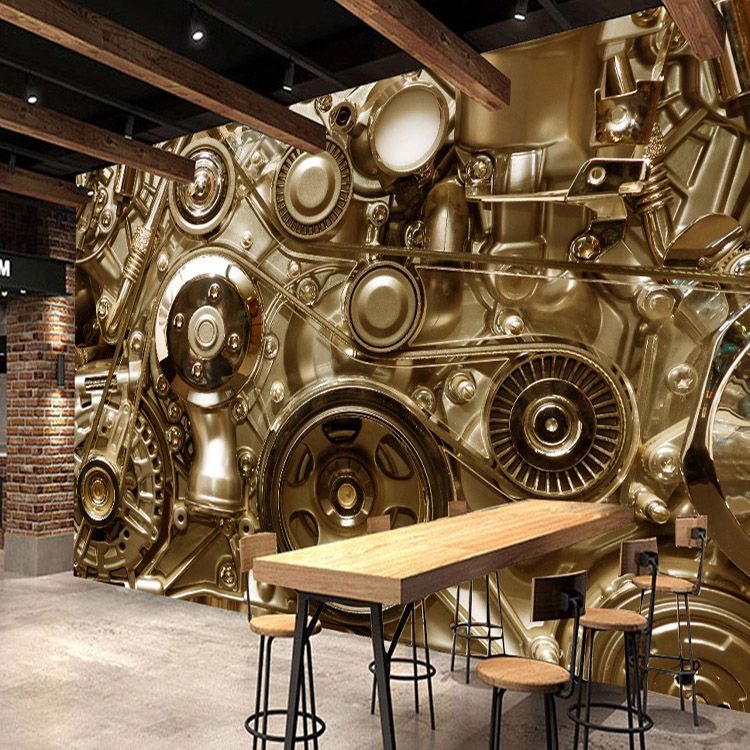 Retro Machine gear machinery metal background wall mural Restaurant Bar bedroom custom 3D mural wallpaper custom photo wallpaper large mural retro old newspaper english letter bar hot pot restaurant background wall wallpaper mural