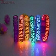 Transer поставка для домашних животных Регулируемый Леопардовый светящийся в темноте светодиодный ошейник для кошек и собак 80329