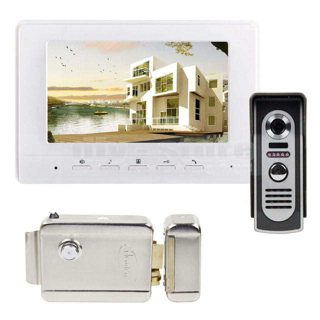 DIYSECUR 7inch Video Intercom Video Door Phone 600TV Line IR Night Vision Outdoor Camera + Electric Lock