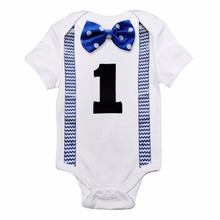 Summer Birthday Body-Boy Suits Romper Newborn Toddler Infant Babies Bow First Casual