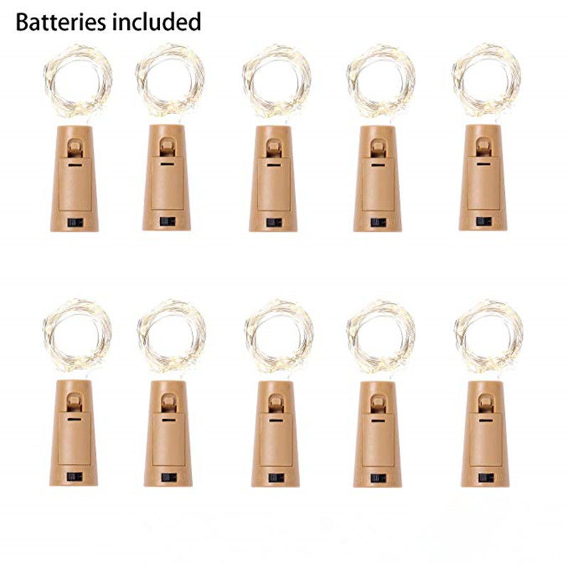 <font><b>10</b></font> Pack included Battery 2M 20LED Cork Shaped <font><b>LED</b></font> String Garland silver Wire Fairy <font><b>Lights</b></font> for Glass Craft Bottle Christmas/Valen image