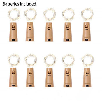 10 Pack included Battery 2M 20LED Cork Shaped LED String Garland silver Wire Fairy Lights for Glass Craft Bottle Christmas/Valen