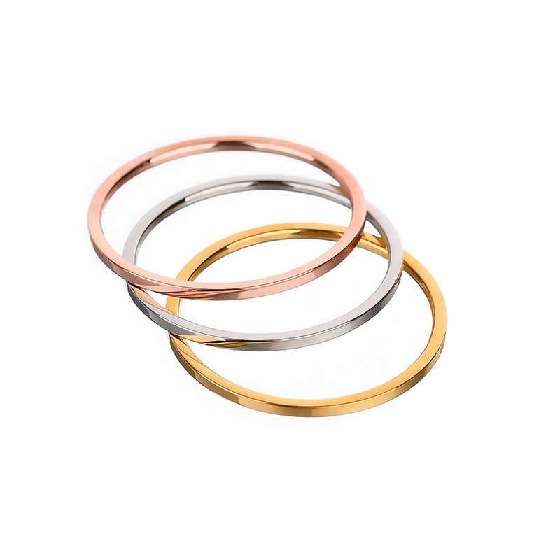 ELSEMODE 로즈 골드 1.1mm 간단한 티타늄 스틸 부드러운 약혼 웨딩 커플 반지 여자 보석 쥬얼리 선물