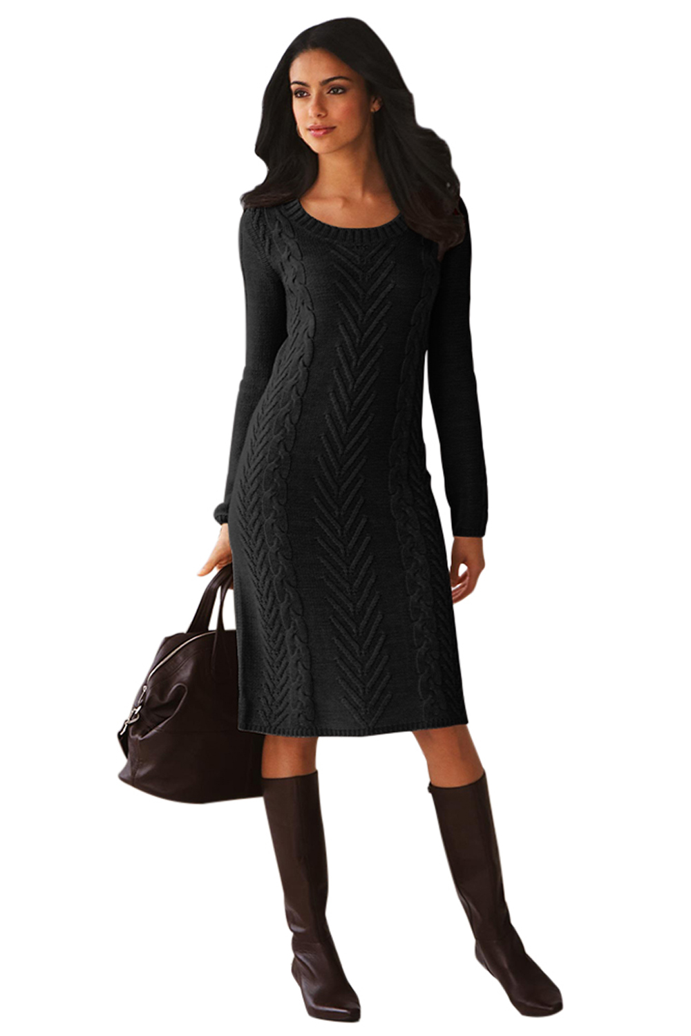Black Knit Sweater Dress Winter Sexy Long Sleeve Hand Knitted Fitted Sweater Dresses For Women O