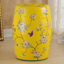 flower and butterfly design chinese ceramic garden stools as