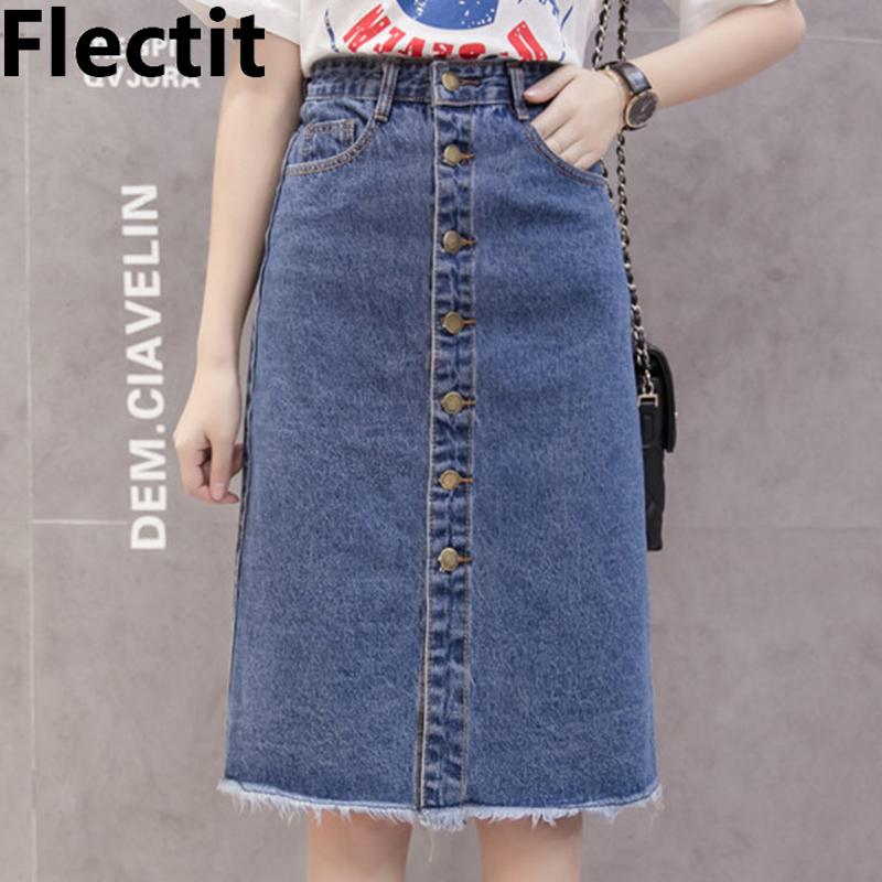 Flectit 2019 Button Front Midi Denim Skirt For Women Casual High Waist Fray Hem With Pocket Knee Length Jeans Skirt Female *
