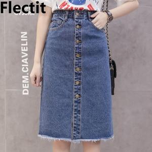 Flectit 2019 Button Front Midi Denim Skirt for Women Casual High Waist Fray Hem with Pocket Knee Length Jeans Skirt Female *(China)
