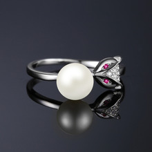 Fox 5mm Cultured Freshwater Pearl Created Pink Sapphire Accented Wrap Ring 925 Sterling Silver Jewelry For Women