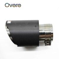 Overe 1PC Carbon Fiber Car Exhaust Muffler Tip Pipe M logo For BMW F30 320i 316i M3 M4 M5 1 2 3 4 5 6 7 X Z Series Accessories