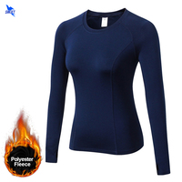 Fleece Lined Winter Women S O Neck Thermal Compression Shirt Elastic Warm Long Sleeve Longies Tshirt
