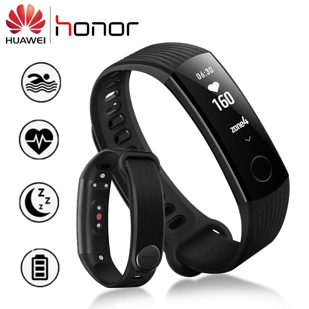 Original Huawei Honor Band 3 Smart Armband 5ATM OLED Bildschirm Touchpad Push Nachricht Kontinuierliche Herz Rate Monitor Fitness Tracker