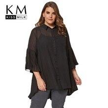 Kissmilk Plus Size Women Clothes Simple Solid Color Commute Asymmetric Hem Fold Stitching Shirt