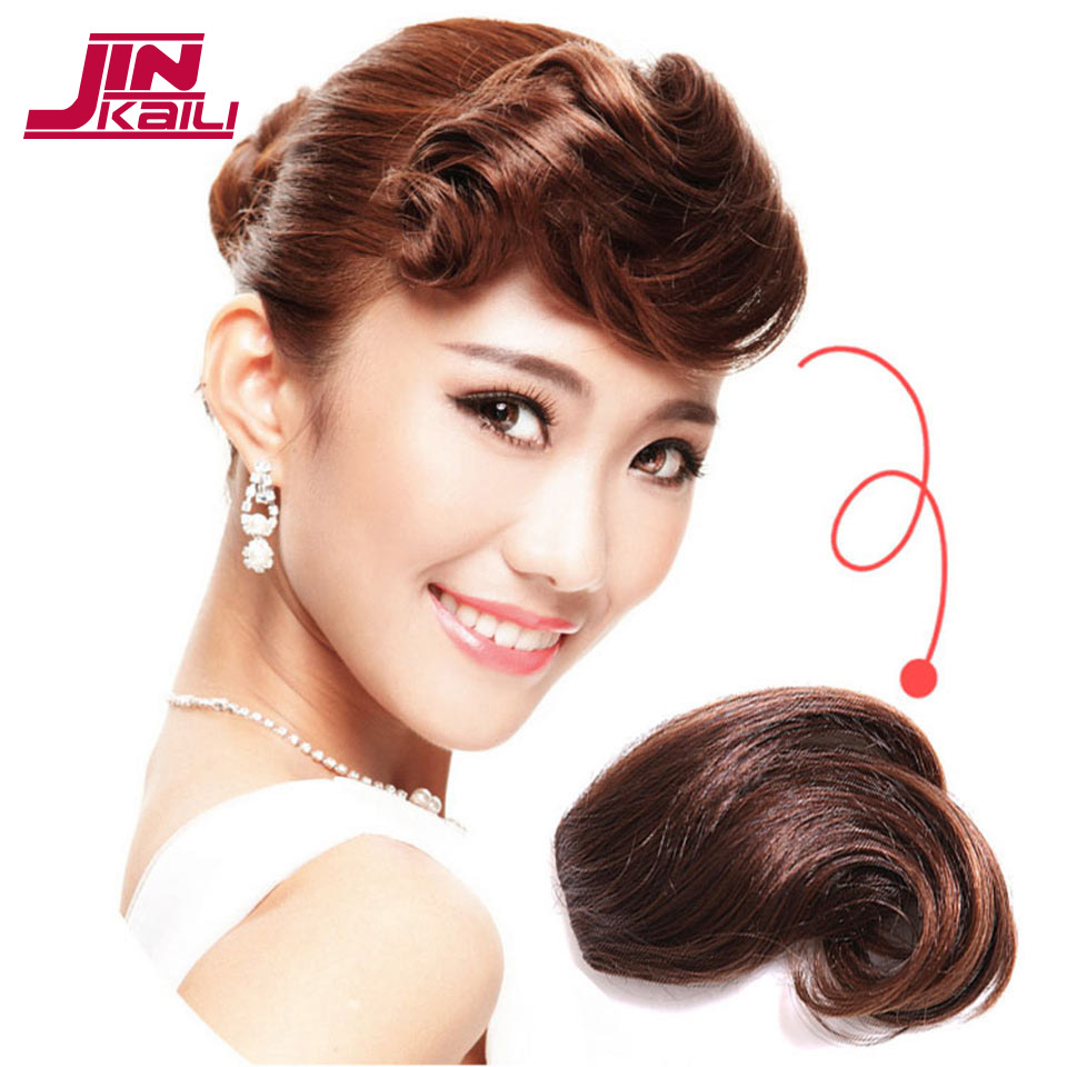 JINKAILI WIG Clip On Curly Bangs Black Fringe Hair Extensions Synthetic Clips in Hair Bang False Short Flat Bangs Two Side ...