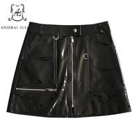 Autumn Real sheepskin Genuine leather skirts women Pocket zip sexy slim zipper Package hip OL female short Patent leather skirt