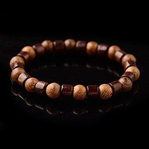 Image 2 - OIQUEI 8mm naturalny okrągły Cylinder bransoletka z koralików z drewna mężczyźni klasyczna elastyczna buddyjska modlitwa bransoletka buddy Hommes bileklik bijoux