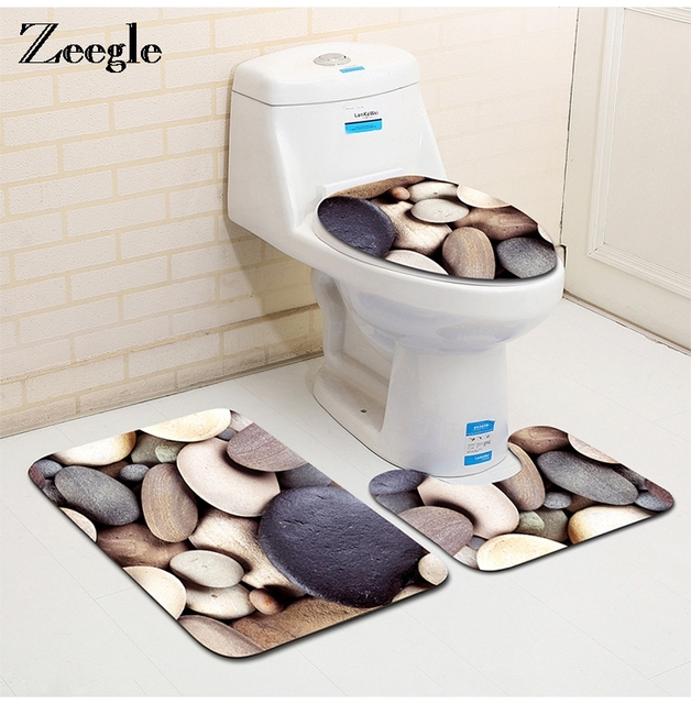 Zeegle Stone Printed 3pcs Toilet Cover Carpet Bathroom Set Non Slip