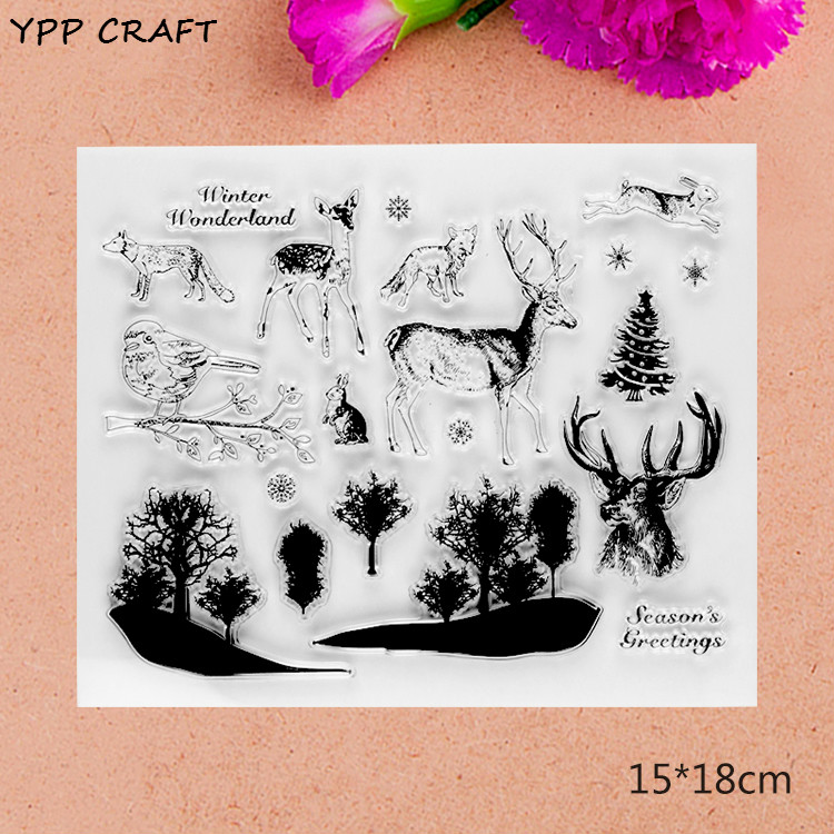 YPP CRAFT Seasons Greetings Transparent Clear Silicone Stamps for DIY Scrapbooking/Card Making/Kids Fun Decoration Supplies