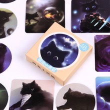 46PCS/pack Star Sky Black Cats Diary Paper Stickers Kawaii Planner Scrapbooking Sticky Stationery Escolar School Supplies цена