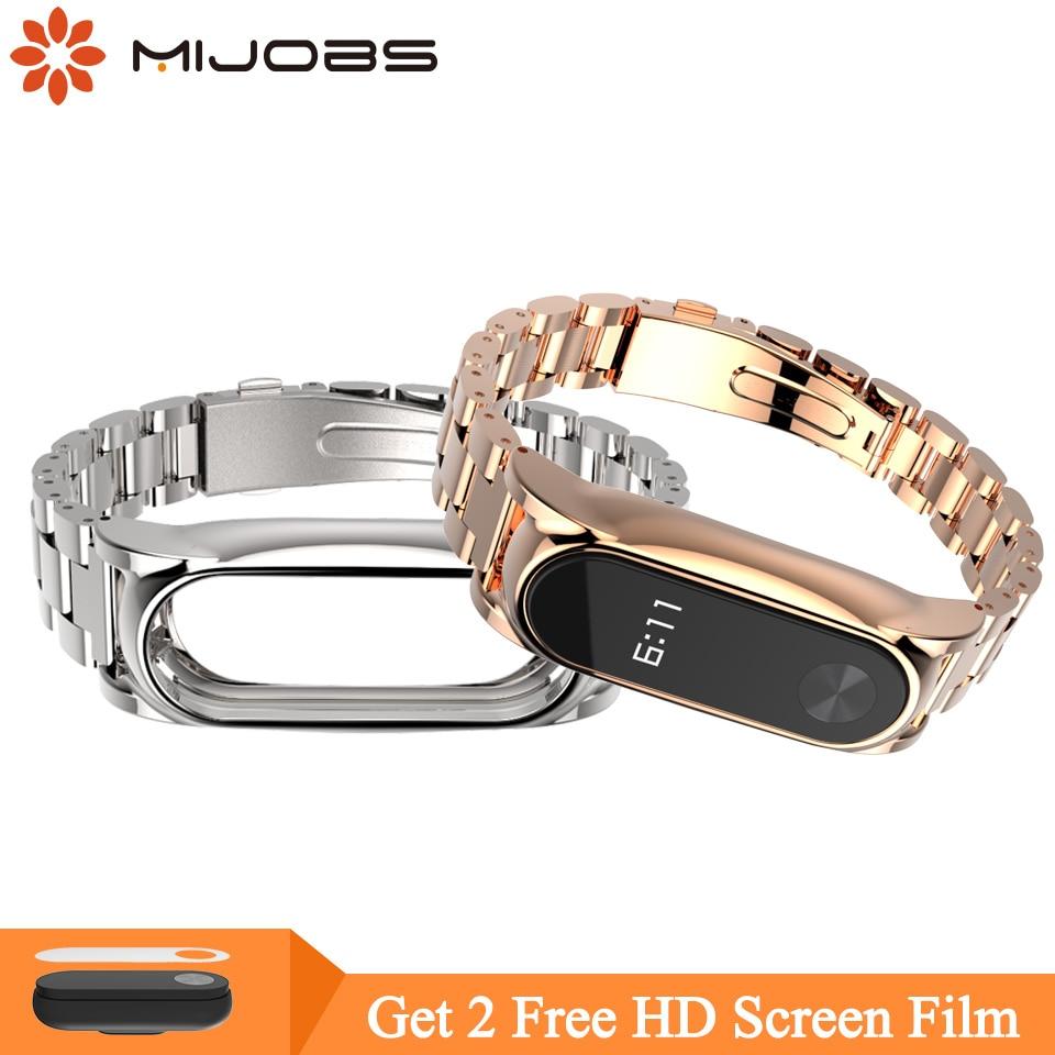 Mijobs Mi Band 2 Wrist Strap For Xiaomi Mi Band 2 Screwless Stainless Steel Bracelet Miband 2 Wristbands Pulseira Miband2 Strap