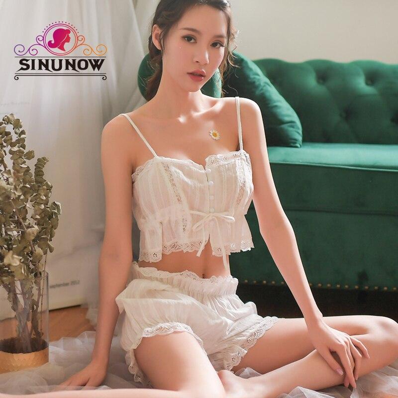 Sexy Lace Women Print Lace Two Pieces Sleeveless   Pajama     Set   Girl Lolita Kawaii Seep   Set   Princess Sleepwear Homewear