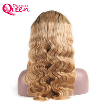 Body Wave Ombre 1B/27 Ombre Color lace Front Wigs With Baby Hair Remy Hair Brazilian Human Hair Wigs Pre Plucked Dreaming Queen
