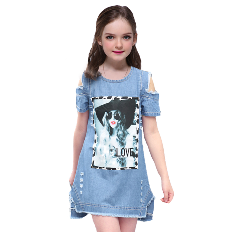 Girls Dress for Baby Kids Clothes New Summer Fashion Casual Denim Dresses Cotton Sleeveless Party Clothe Vestidos 6 8 9 10 Years 2016 new girls dress cotton summer style sleeveless children dress party dresses for 2 7 years kids toddler vestidos kf509