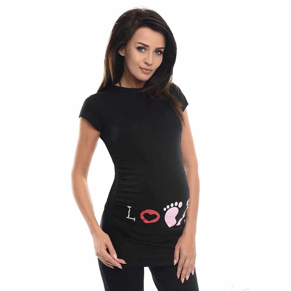 การตั้งครรภ์ตลก T เสื้อสำหรับหญิงตั้งครรภ์ฤดูร้อนผู้หญิงเสื้อยืด Slim การ์ตูน Maternity พยาบาล Tops O - Neck เสื้อผ้าผู้หญิง