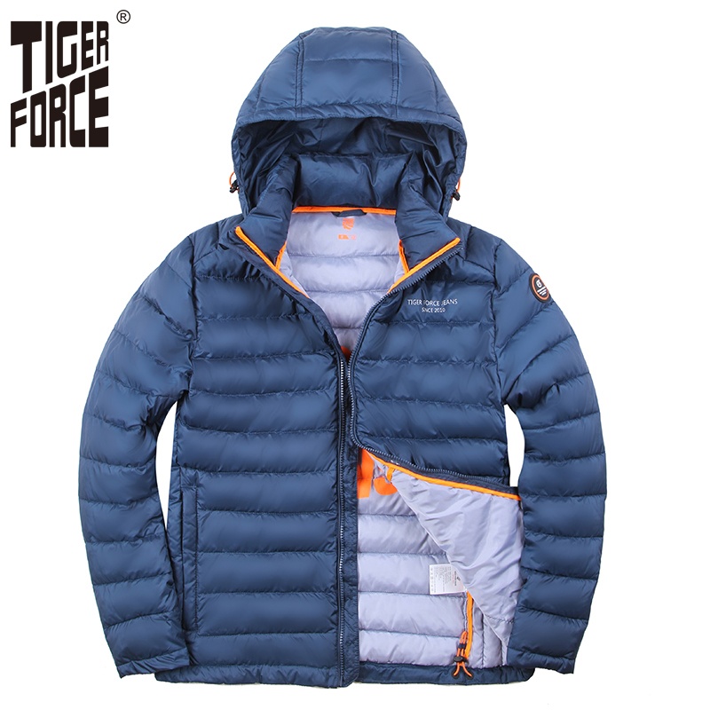 TIGER FORCE 100% Polyester Spring Men's Jacket Men Thick Jackets Male Casual Coats Hooded Outerwear High Quality Men   Parka