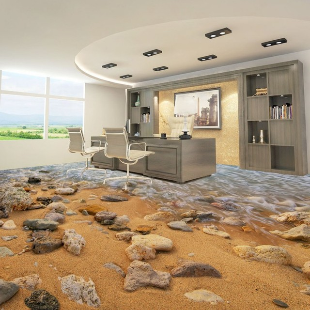 Free Shipping Ocean Beach Spray 3d Living Room Bathroom Flooring