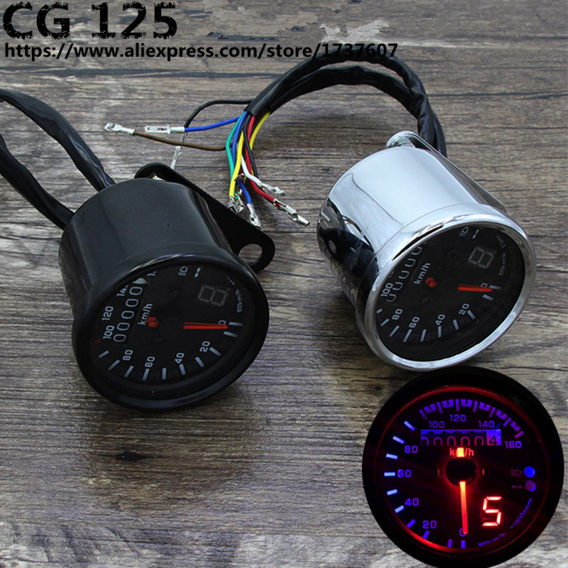1pcs GN125 CG125 LED backlight motorbike speedometer moto pit bike motocross odometer digital for CG125 motorcycle tachometer old school motorcycle gauges