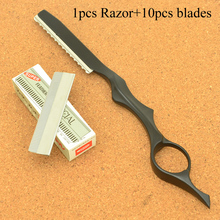 Meisha 1PCS Stainless Steel Barber Shaving Razors with 10Pcs Blades Hair Removal Tools Scraping Eyebrow Knife for Women HC0007