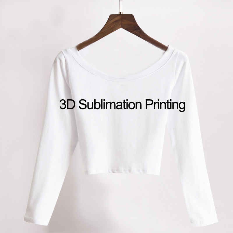 US $15 0 |Custom Made Create your own designs 3D Sublimation Print long  sleeves Milk Silk Crop Tops-in T-Shirts from Women's Clothing on