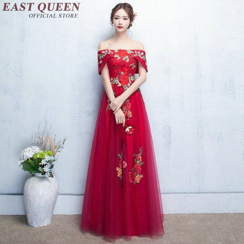 Cold Shoulder Dress Chinese Oriental Dresses Women Chinese Dress Qipao Red Modern Cheongsam Off Shoulder AA2141 W