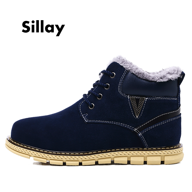 2017 Brand Winter Mens Boots, Fashion Lace Up Man Shoes Ankle Boots for Men, Warm Fur Casual Mens Shoes Motorcycle Retro Boots