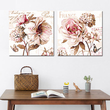 Coloring by numbers 2 Pieces Classical flowers Peony in full bloom pictures paintings  with paint colors a frame