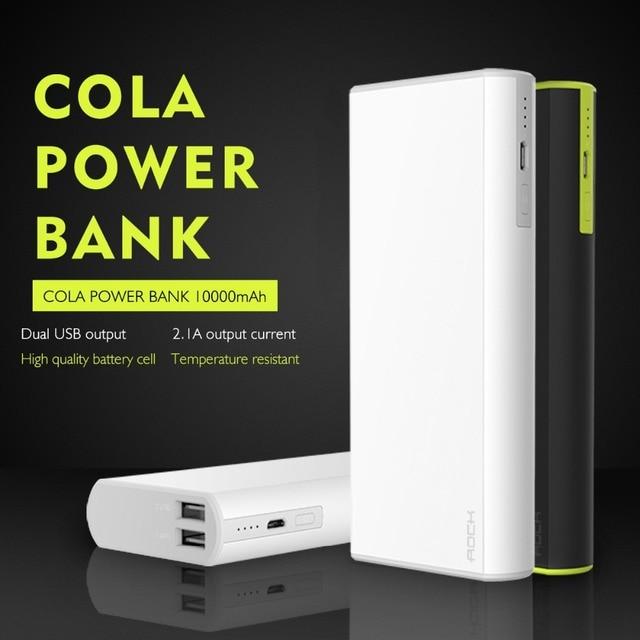 РОК Кола Power Bank 10000 мАч Externalbattery Обновления Портативное Зарядное Устройство Dual USB Выход Для Сотовых Телефонов Tablet PC