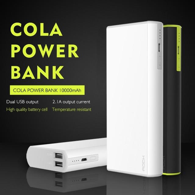 ROCK Cola Banco Do Poder 10000 mAh ExternalBattery Pacote Carregador Móvel Portátil Saída USB Duplo Para Telefones Celulares Tablet PC