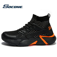 SOCONE New Air Mesh Running Shoes For Men Sneakers Outdoor Breathable Comfortable Athletic Flat Shoes Sports Shoes