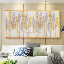 Hand Painted Wall Decorative Painting Golden wheat Art Canvas oil nordic Tree Pictures for Living Room