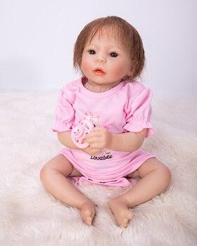 "48cm Handmade 19"" bebe alive Reborn silicone Baby Dolls realistic pink suit  lifelike Toddler cloth body  Birthday Xmas Gift"