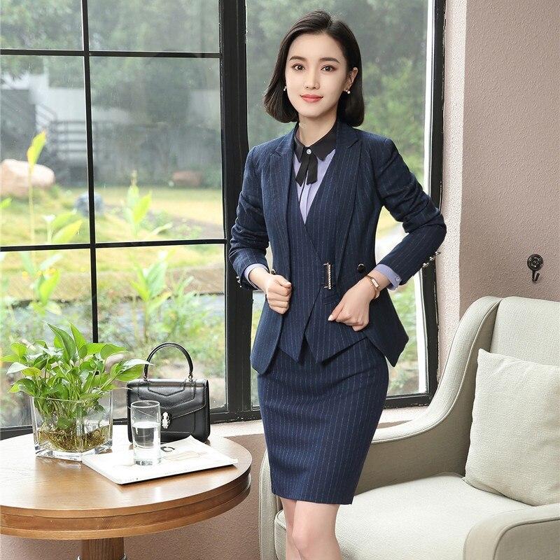2019 Neuer Stil Hohe Qualität Damen Blazer Frauen Anzüge 3 Stück Weste, Rock Und Jacke Sets Damen Amt Uniform Stile Ol Clear-Cut-Textur