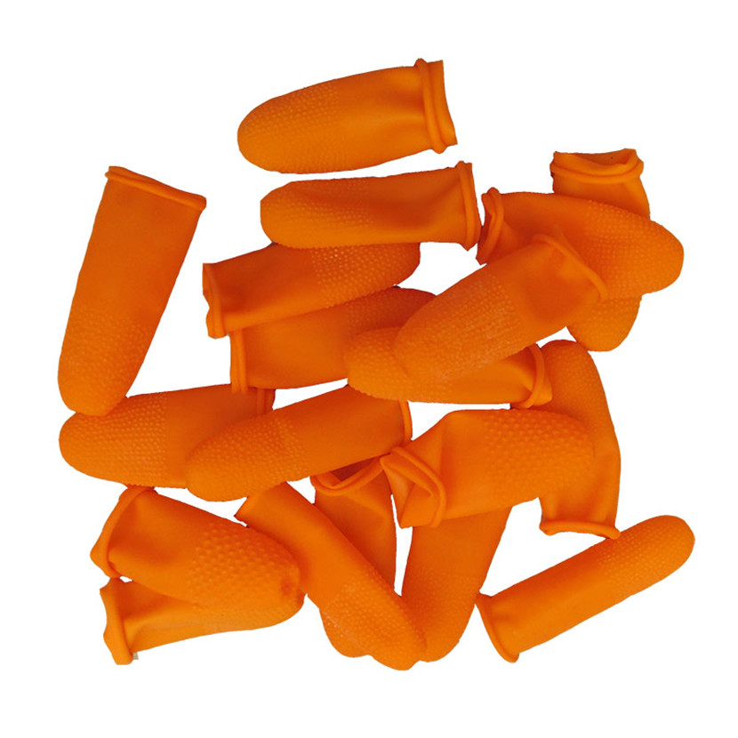 Image 3 - 100pcs Latex Finger Golves Orange Antiskid Rubber Finger Glove Counting Work Nail Covers Protectors Cots Antistatic Fingertip-in Safety Gloves from Security & Protection