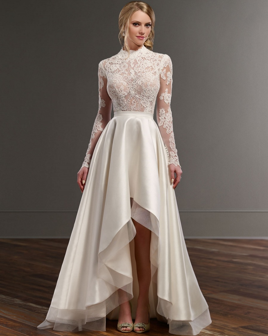 Vestidos De Novia Vintage High Low Neck Lace Wedding Dresses 2017 New Y Long Sleeve Gown Short Front Back In From