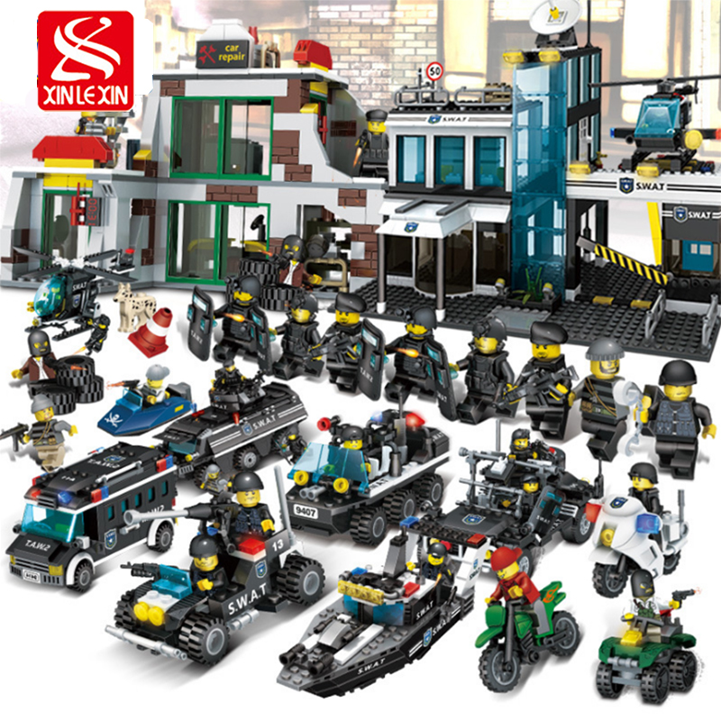 xinlexin City Police Station Assembly Blocks Sets SWAT Armored Vehicles Bricks boys Building Blocks Christmas gift for Child 407pcs sets city police station building blocks bricks educational boys diy toys birthday brinquedos christmas gift toy