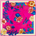 New Arrival Square Scarf Flower Figure Bohemia Style 100% Silk Shawl Size 100 cm*100 cm Large Square Scarf For Women