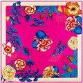 Nueva llegada bufanda cuadrada de la flor figura estilo de Bohemia 100% de seda del mantón tamaño 100 cm * 100 cm bufanda cuadrada grande para mujeres