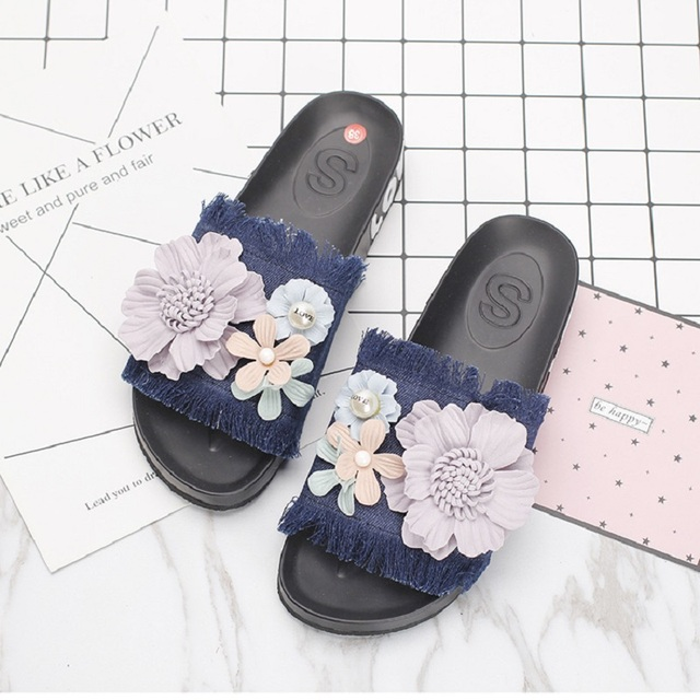 211690d7e2a9a VANLED Steps-In Denim Woman Beach Platform Sandals Shoes Women Labelling  Little Flower Decorated Holiday Adorable Fashion Ladies