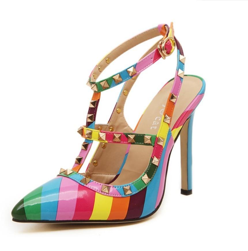 Big Plus Size 35-41 Woman Stripped Multi Color Strappy Sandals Rivets Slingback Ankle Wrap Pumps High Heel Women Wedding Shoes