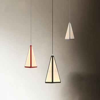 Hậu Hiện Đại Triangle Acrylic Ánh Sáng Mặt Dây Dẫn Phòng Ăn Kim Loại Led Treo Lamp Cho Bar Lustre Luminaria Lamparas Đình Chỉ Đèn