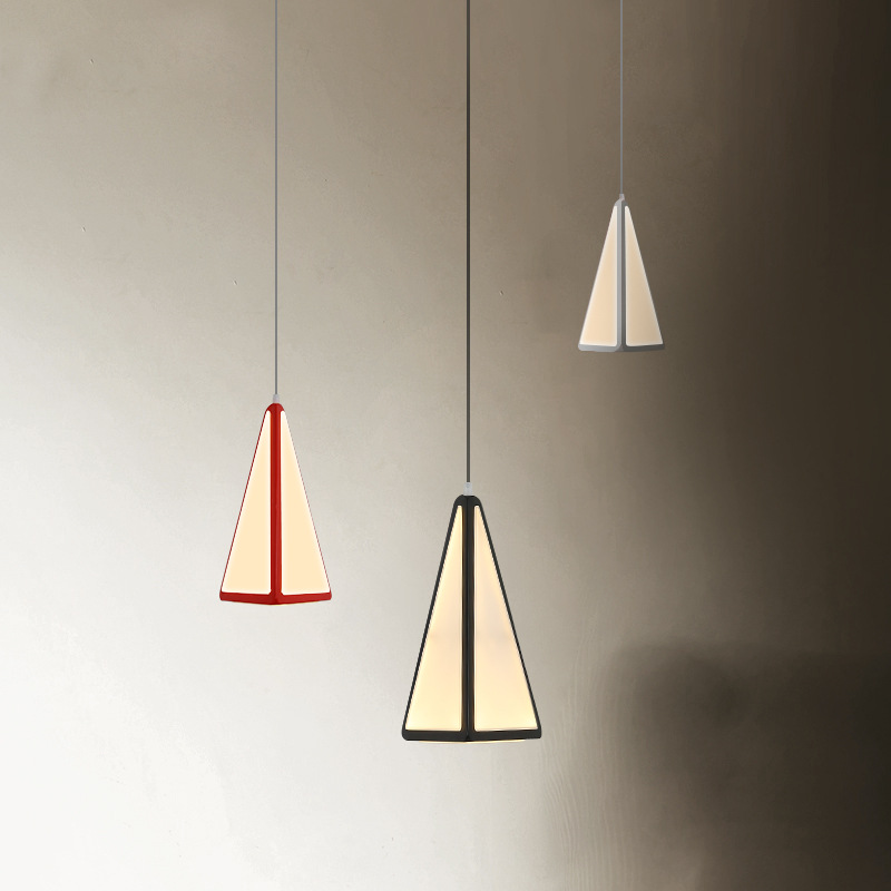 Post Modern Triangle Acrylic Led Pendant Light Dining Room Metal Led Hanging Lamp For Bar Lustre Luminaria Lamparas Suspend Lamp 6w nordic modern bird led pendant light dining room bar minimalism led hanging light lustre luminaria led suspend lamp